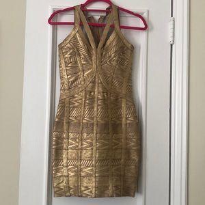 Herve Leger Gold Bandage Dress
